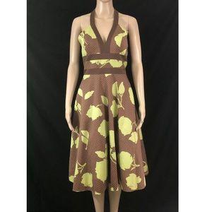 BCBG Paris Dress Sz 6 Brown Green Floral Halter Mi